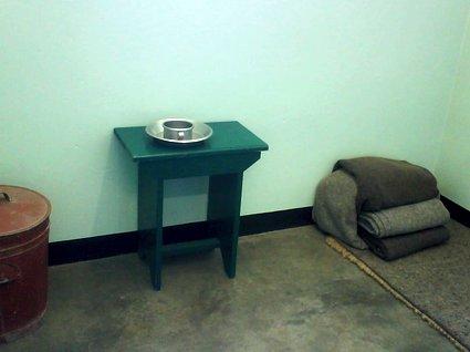 inne i en cell på Robben Island