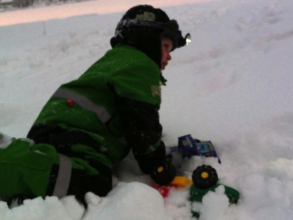 Vidar leker i snön