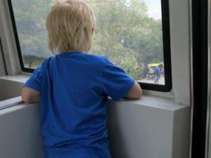 Vidar kikar ut genom fönstret i tåget