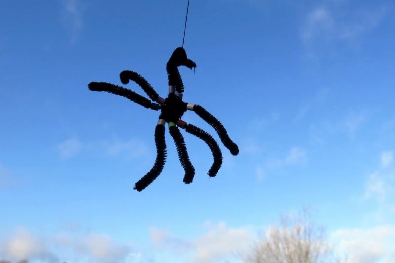 svart lurvig spindel