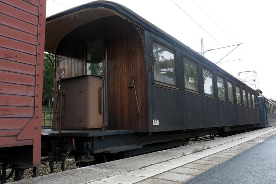 Roslagsbanans veterantåg vagnen vi åkte