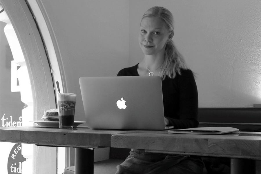 Jag och mitt mobila kontor, idag på Tidemans i Stockholm