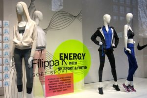 Filippa K och Nike i NK:s skyltning