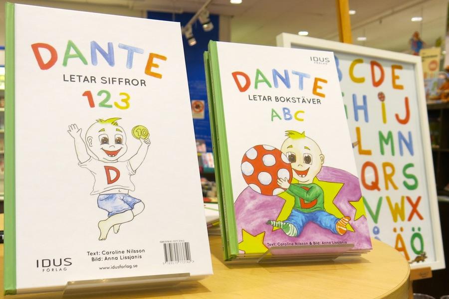 Dante barnboken på bokhandeln i Härnösand