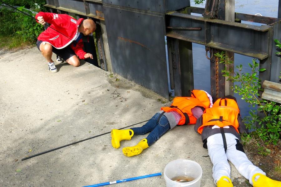 Fiskarna lurar under bron och vi lurar ovanpå