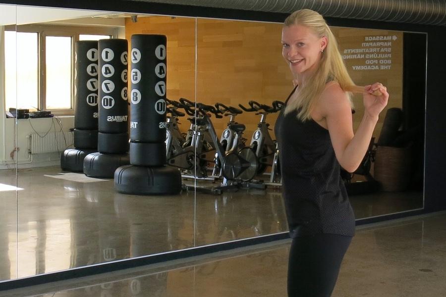 Caroline innan träningseventet startar