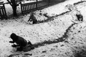 Första snögubben